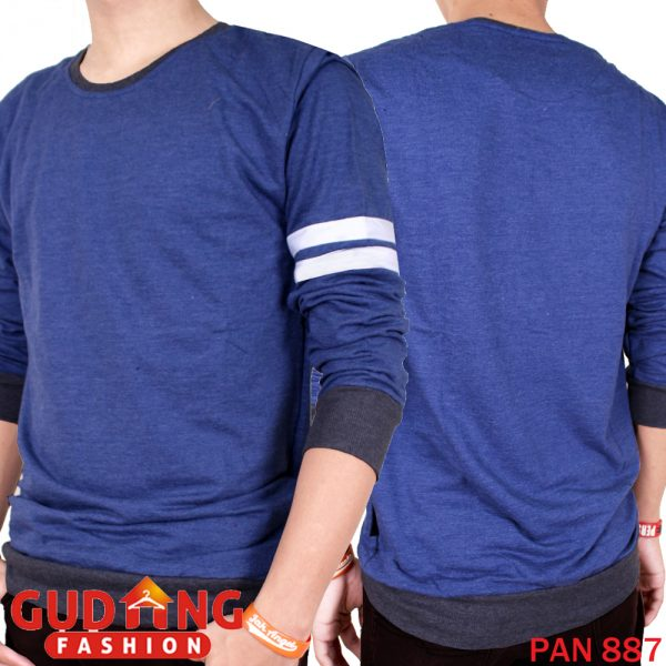 Kaos Pria Double Strip Casual Panjang Baby Terry Biru