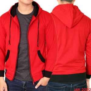 Jaket Casual Pria Fleece Hoodie Fleece Merah – JAK 2292