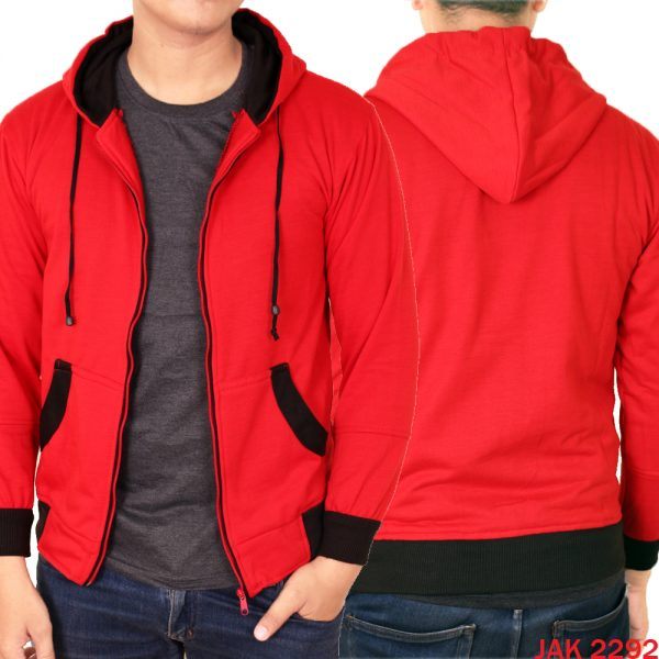 Jaket Casual Pria Fleece Hoodie Fleece Merah