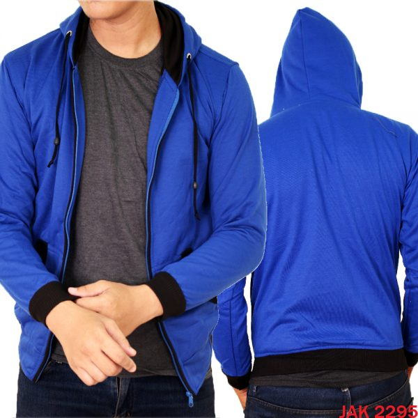 Jaket Fleece Hoodie Fleece Biru Tua