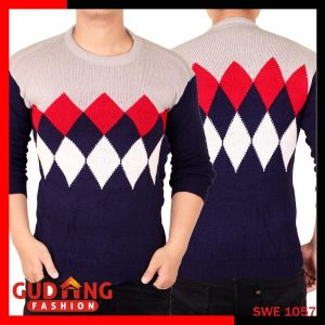 Sweater Tribal Casual Rajut Pria Rajut Navy Abu – SWE 1057