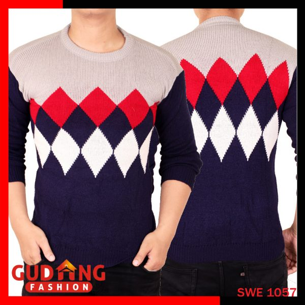 Sweater Tribal Casual Rajut Pria Rajut Navy Abu