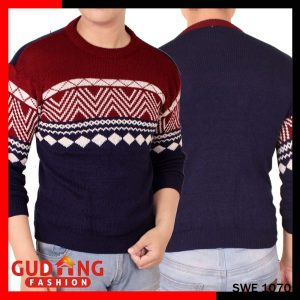 Sweater Tribal Pria Sweater Rajut Navy Maroon – SWE 1070