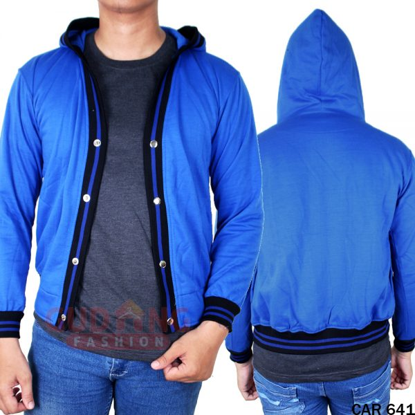 Cardigan Rajut Distro Terkini Fleece Biru - CAR 641